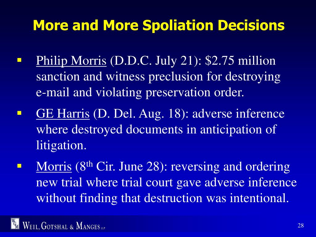 More and More Spoliation Decisions