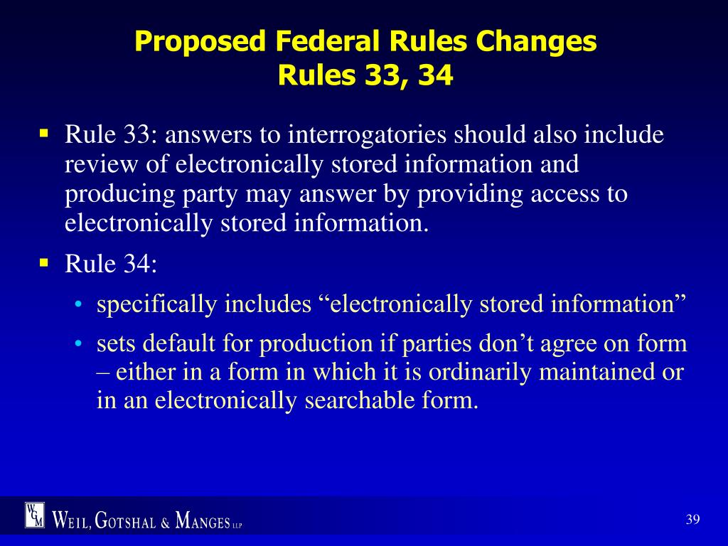 Proposed Federal Rules Changes