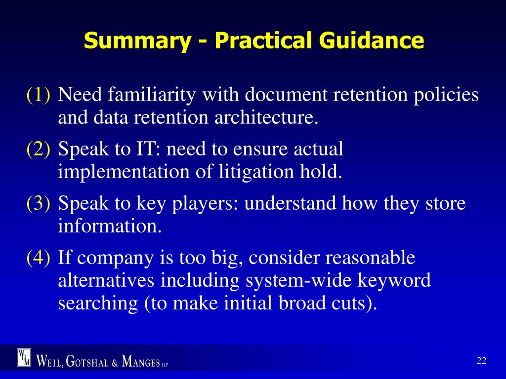 Summary - Practical Guidance