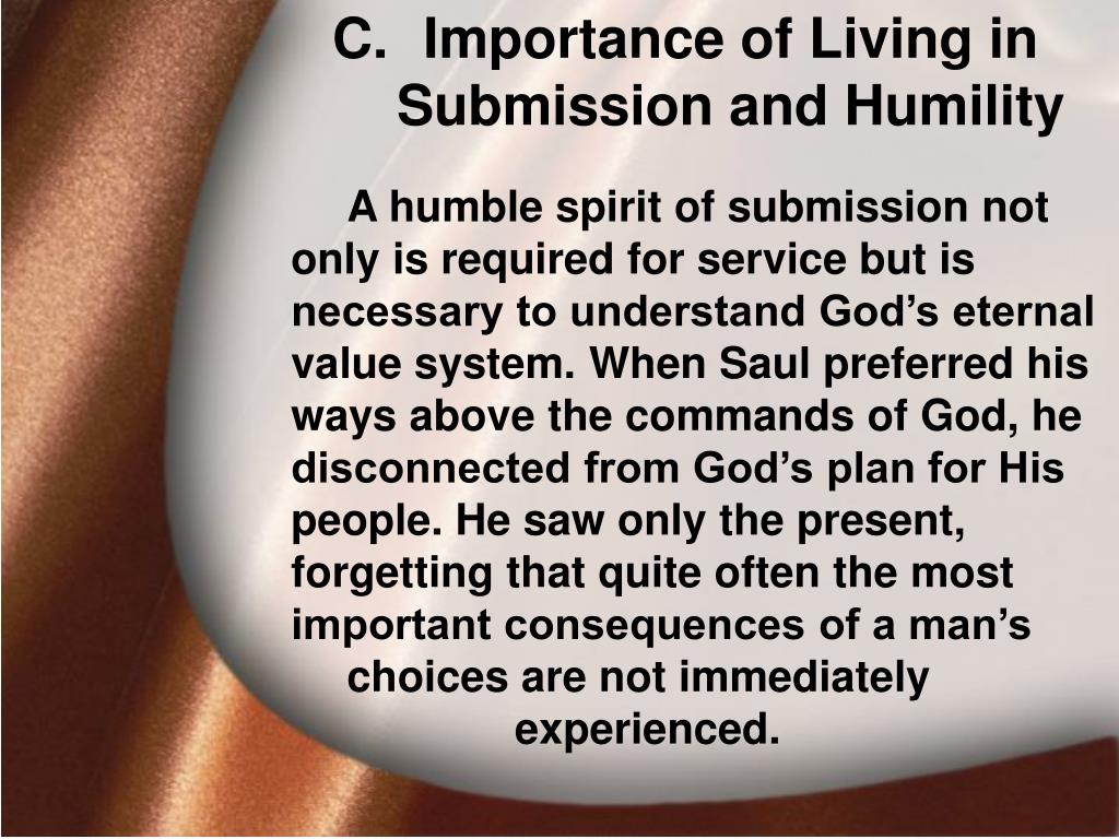 Importance of Living in Submission and Humility