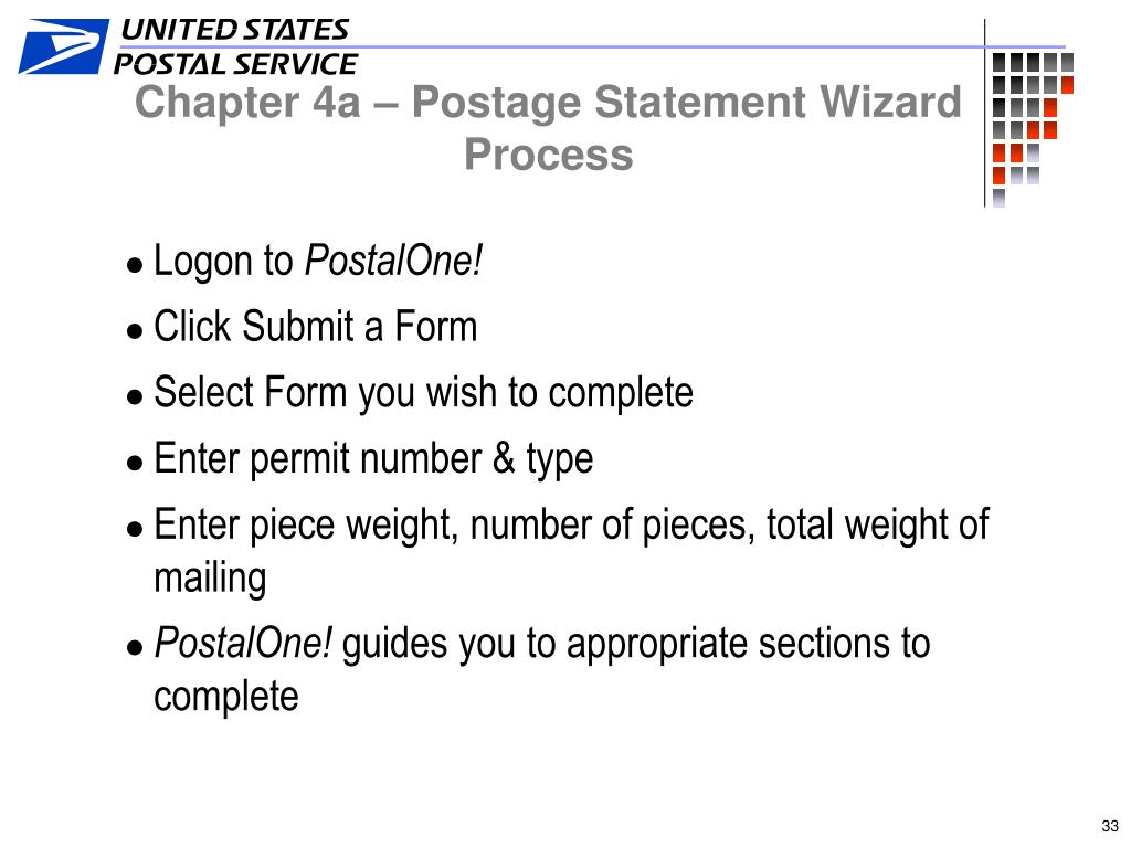 Chapter 4a – Postage Statement Wizard Process