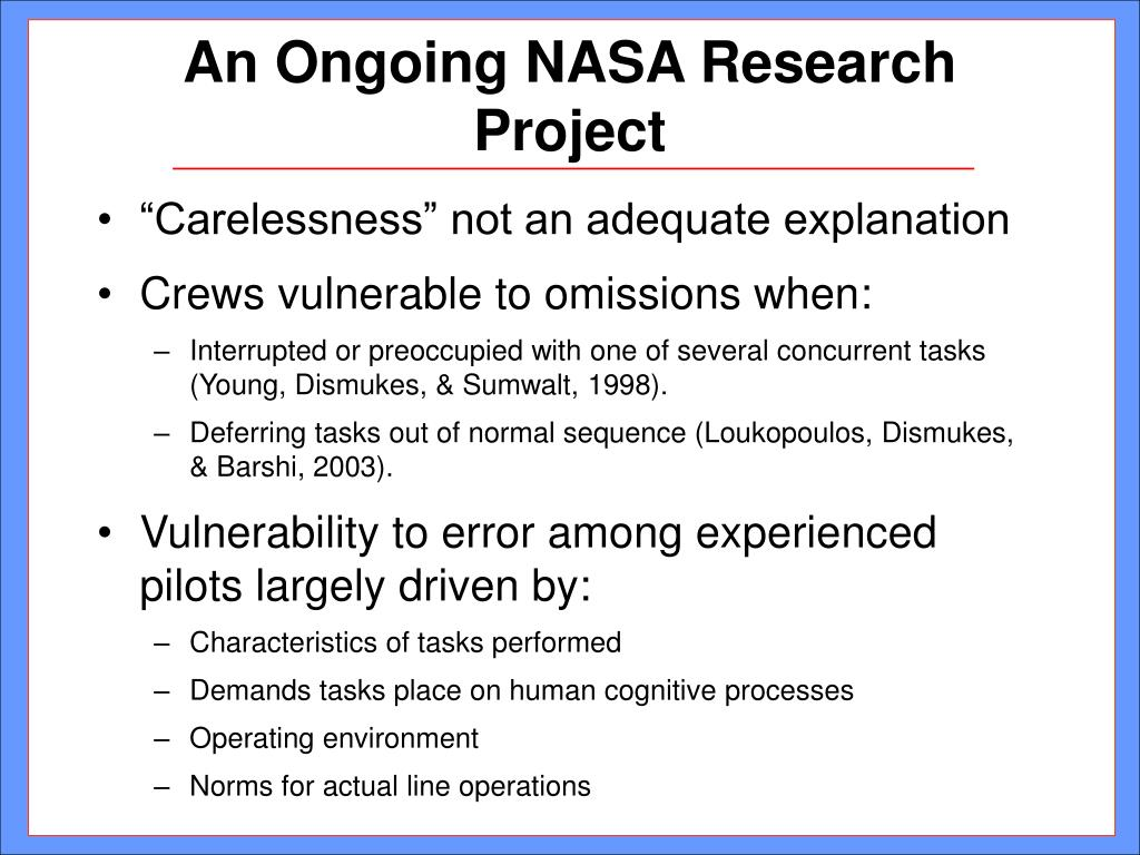 An Ongoing NASA Research Project