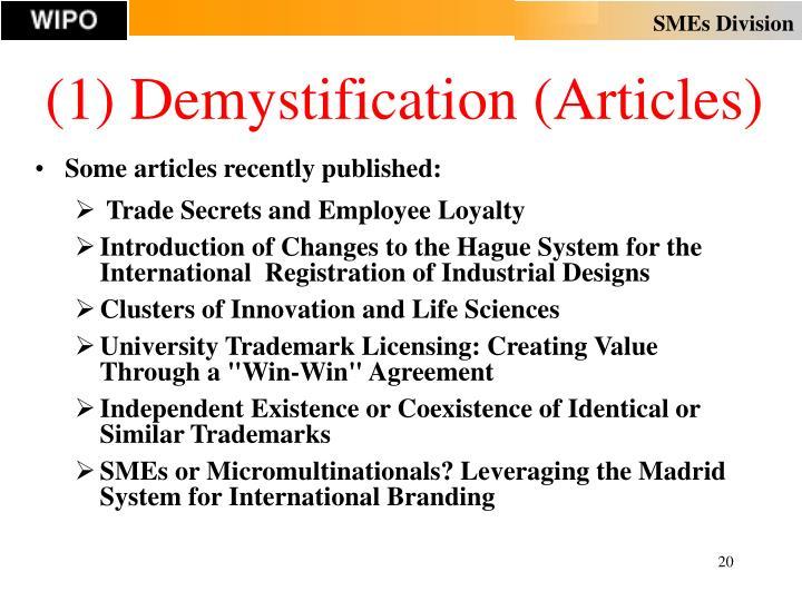 (1) Demystification (Articles)