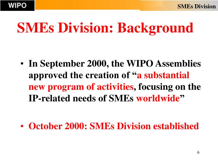 SMEs Division: Background