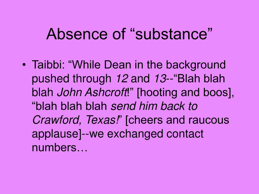 """Absence of """"substance"""""""
