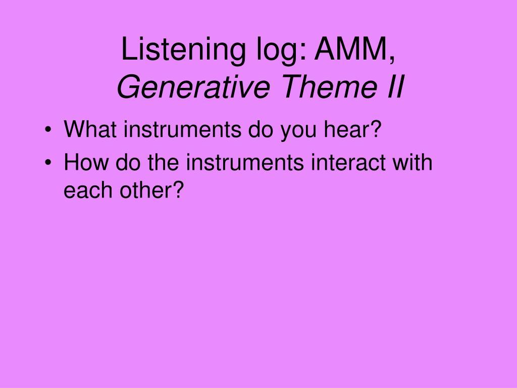 Listening log: AMM,