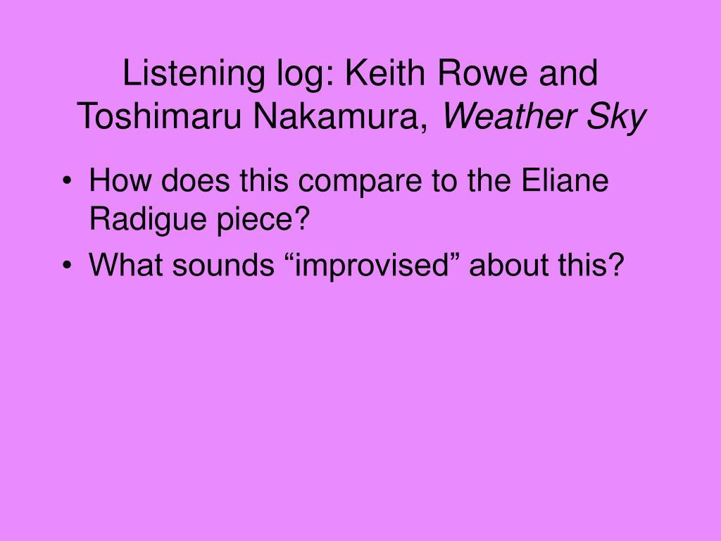 Listening log: Keith Rowe and Toshimaru Nakamura,
