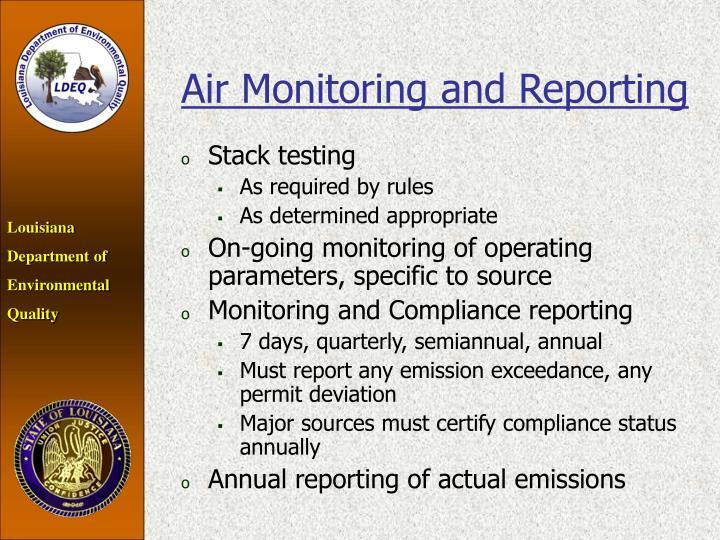 Air Monitoring and Reporting