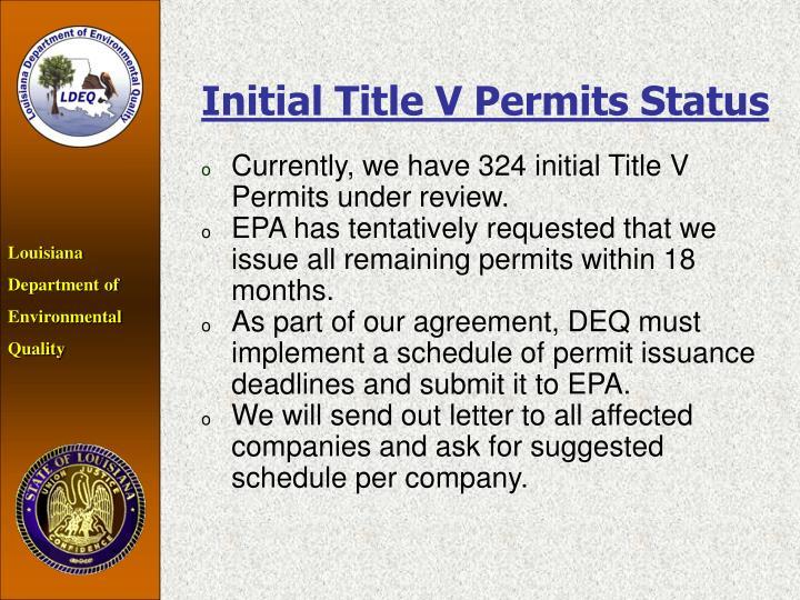 Initial Title V Permits Status