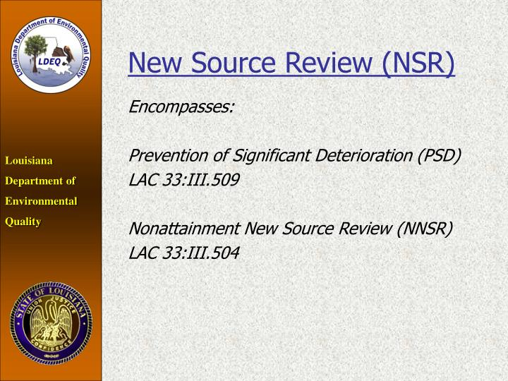 New Source Review (NSR)