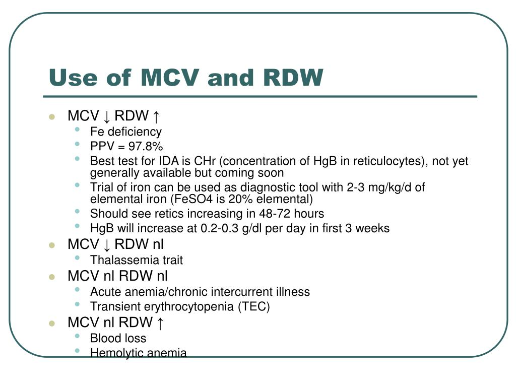 Use of MCV and RDW