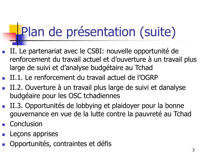 Plan de pr sentation suite
