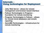 internals using technologies for deployment