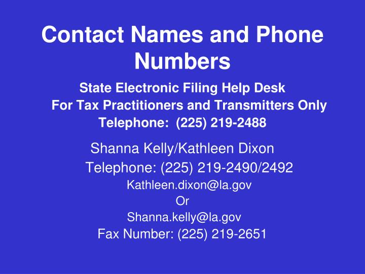 Contact Names and Phone Numbers