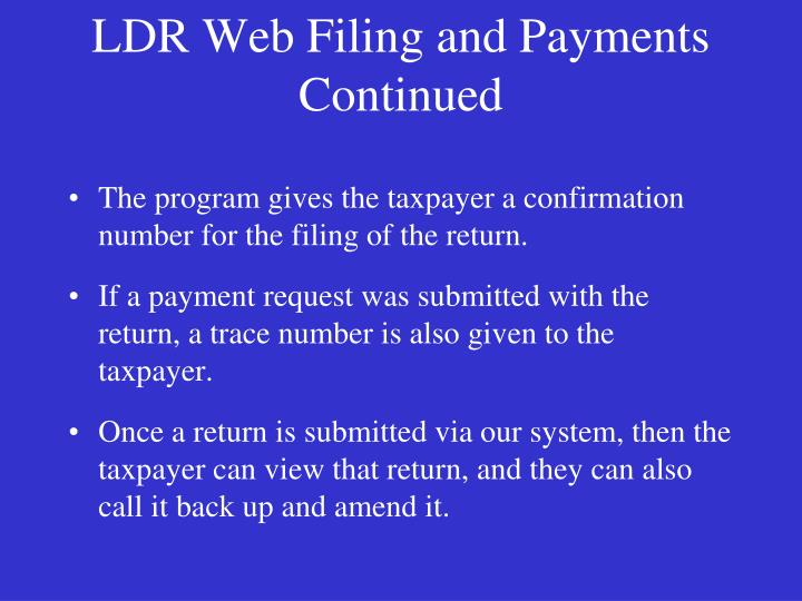 LDR Web Filing and Payments