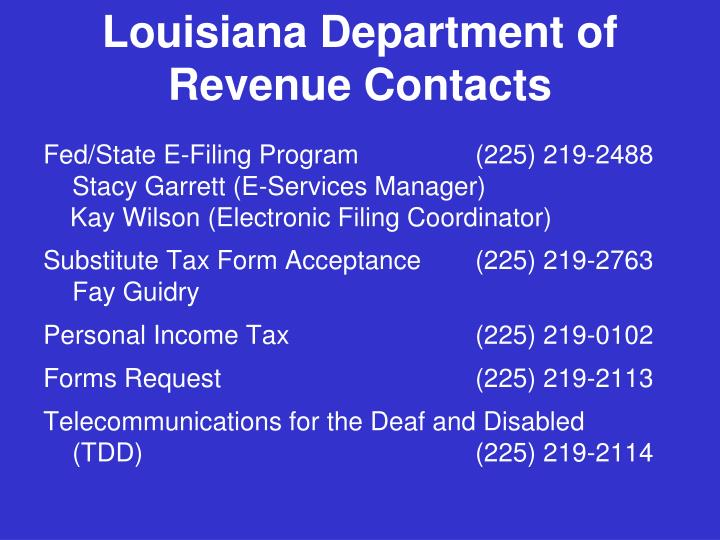 Louisiana Department of Revenue Contacts