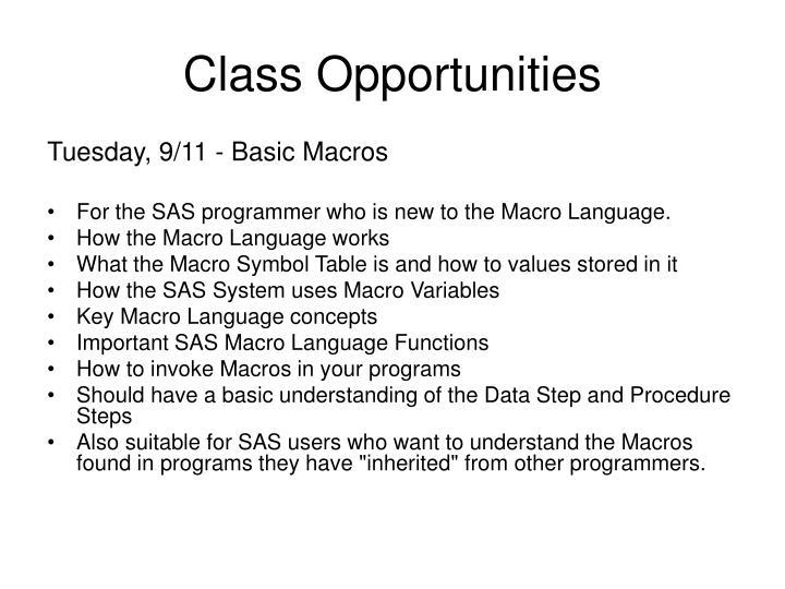 Class Opportunities