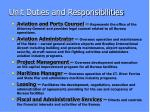 unit duties and responsibilities