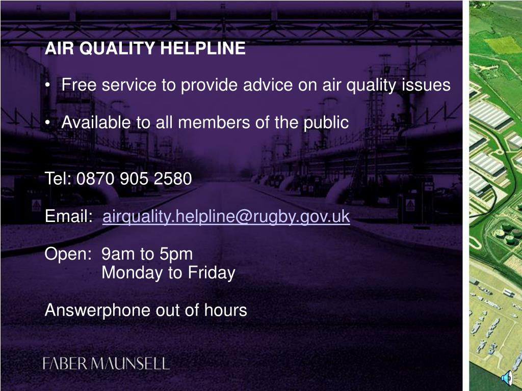 Free service to provide advice on air quality issues