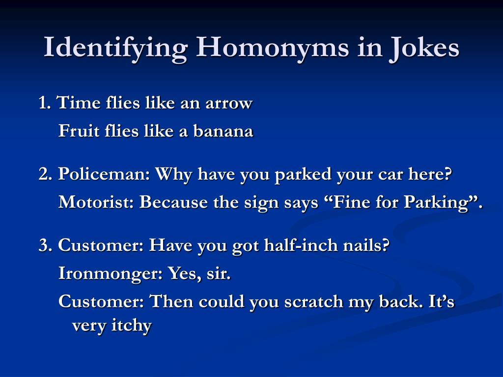 Identifying Homonyms in Jokes