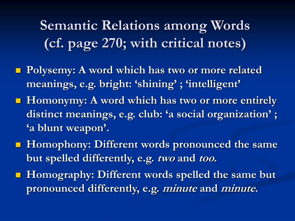 Semantic Relations among Words