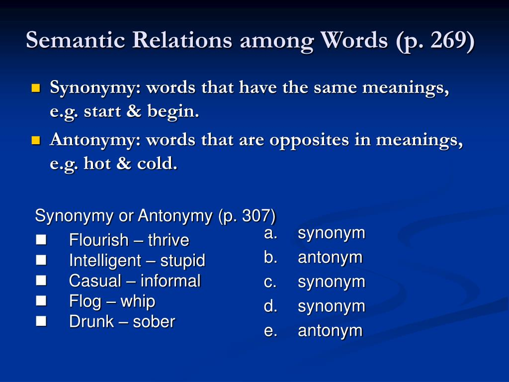Semantic Relations among Words (p. 269)