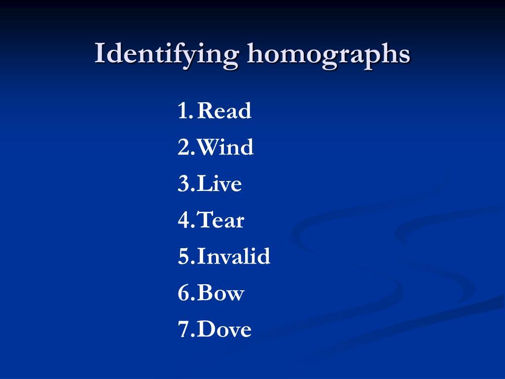 Identifying homographs