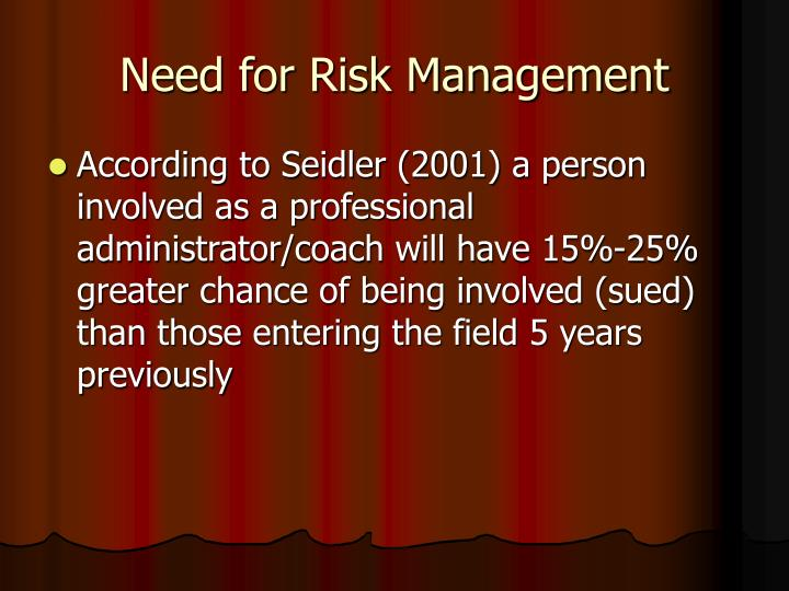 Need for risk management