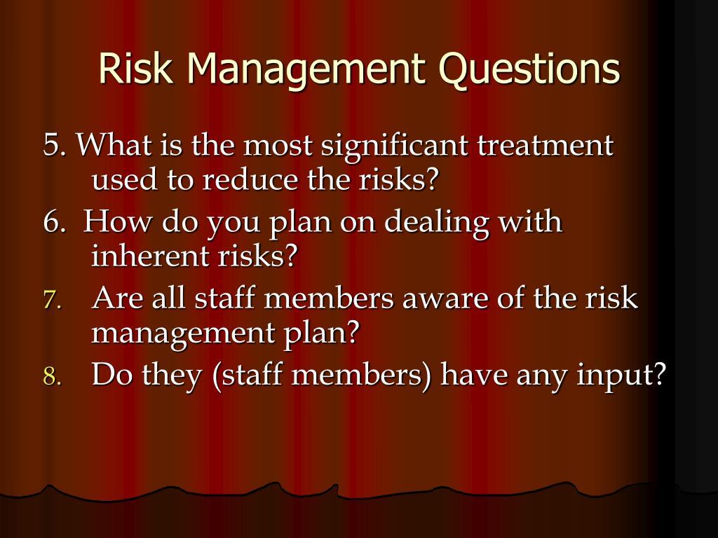 Risk Management Questions