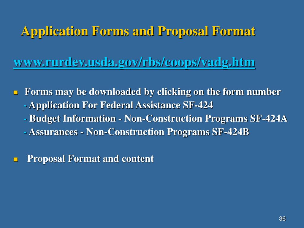 Application Forms and Proposal Format