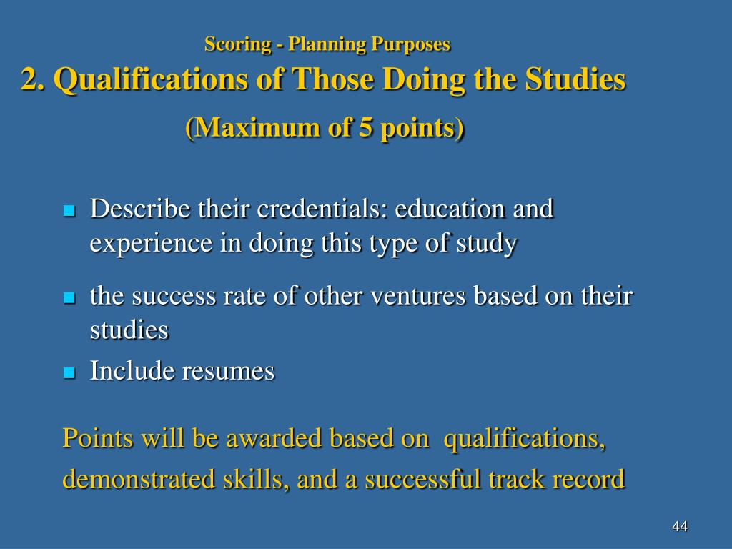 Scoring - Planning Purposes