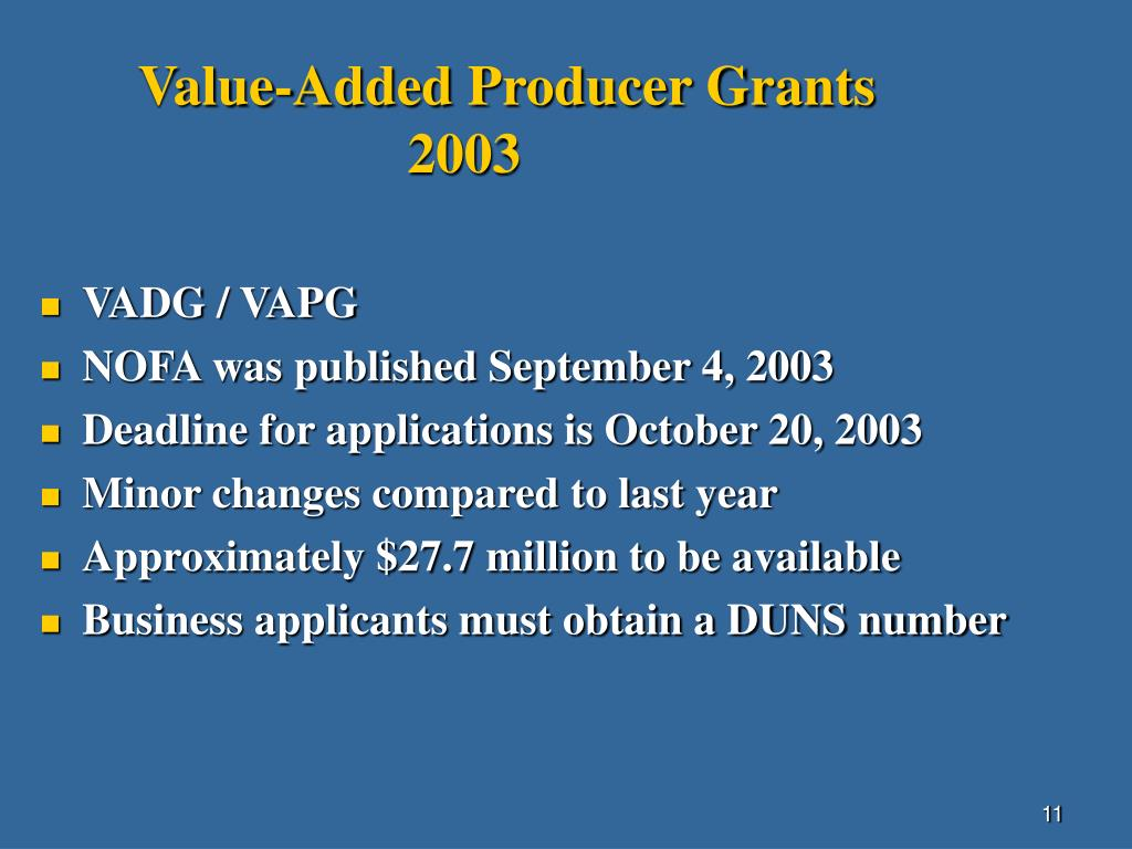 Value-Added Producer Grants
