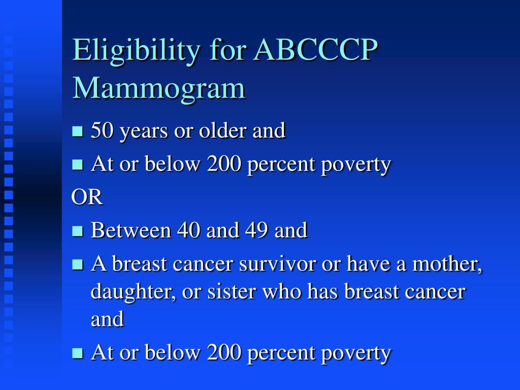 Eligibility for ABCCCP Mammogram