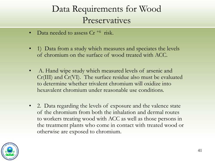 Data Requirements for Wood Preservatives