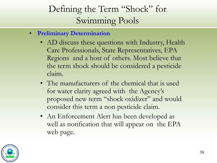 """Defining the Term """"Shock"""" for Swimming Pools"""