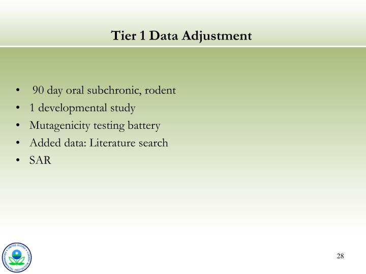 Tier 1 Data Adjustment