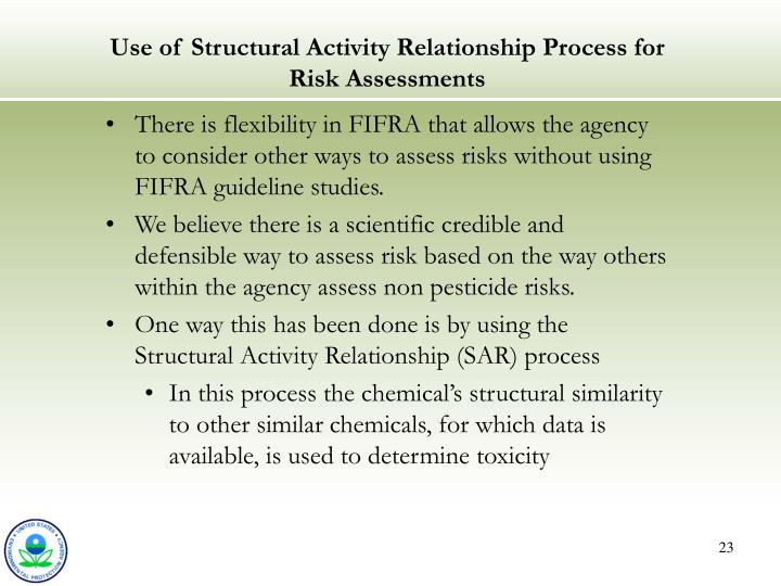 Use of Structural Activity Relationship Process for Risk Assessments