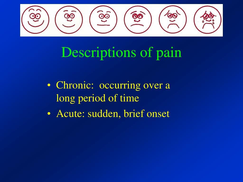 Descriptions of pain