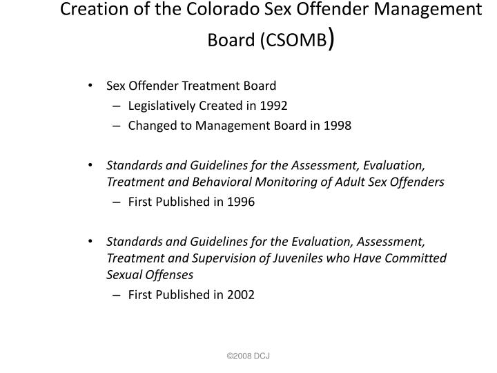 Creation of the Colorado Sex Offender Management Board (CSOMB