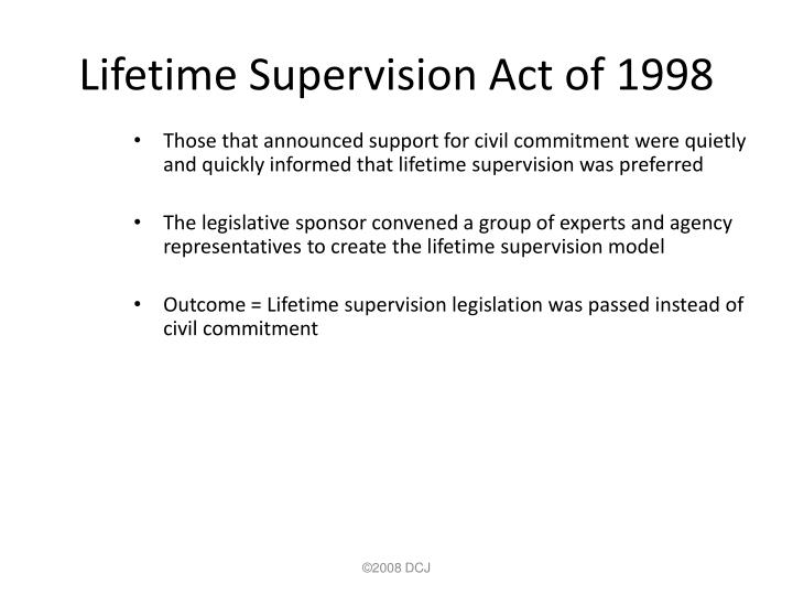 Lifetime Supervision Act of 1998