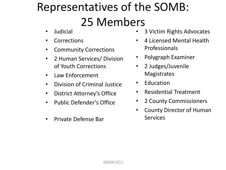 Representatives of the SOMB: