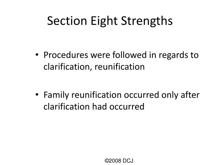 Section Eight Strengths