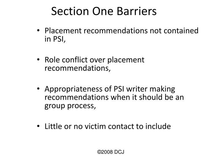 Section One Barriers