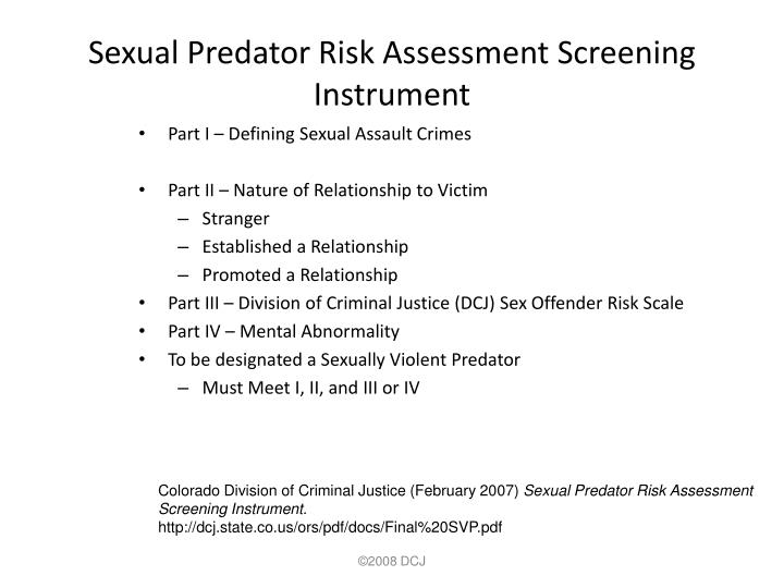 Sexual Predator Risk Assessment Screening Instrument