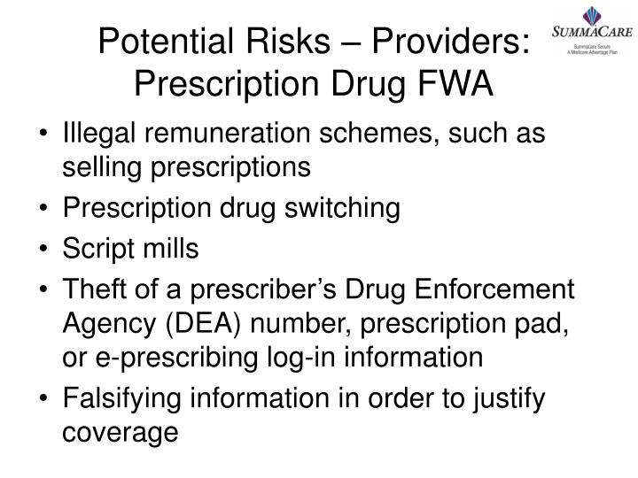 Potential Risks – Providers: