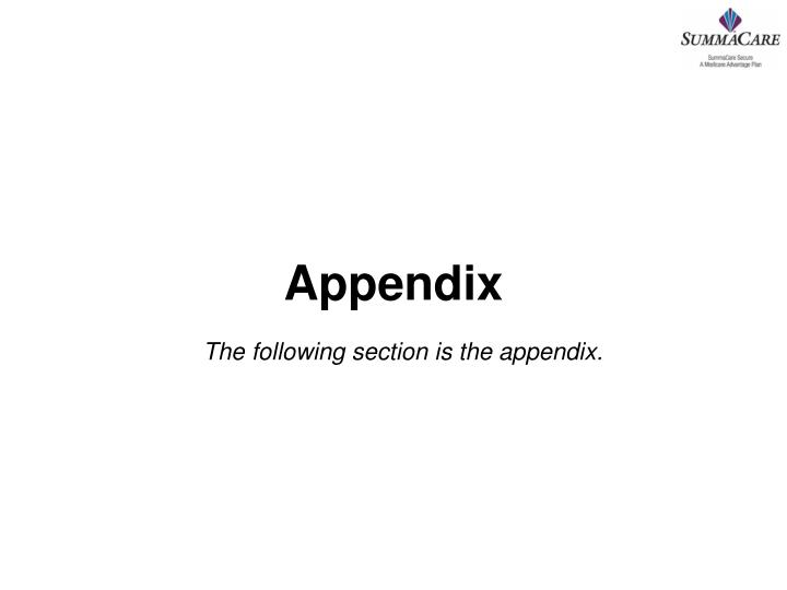 The following section is the appendix.