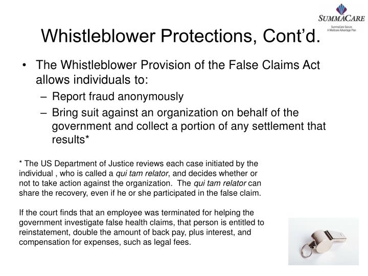 Whistleblower Protections, Cont'd.