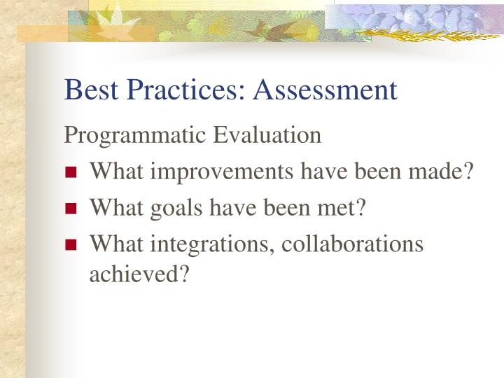 Best Practices: Assessment