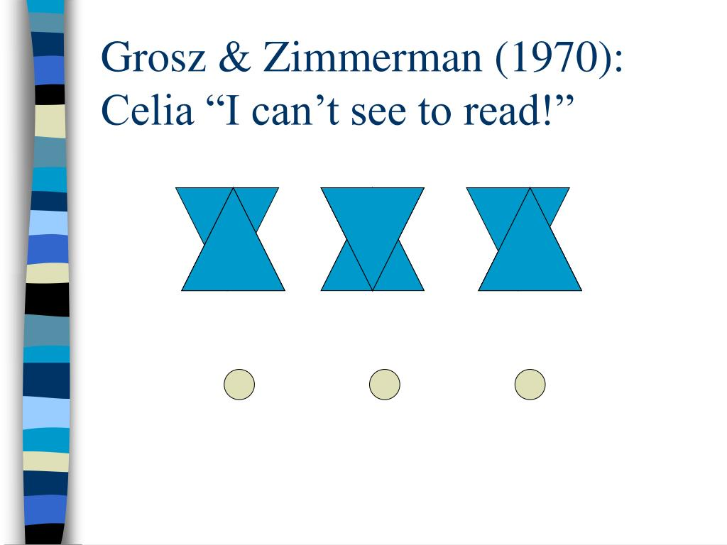 "Grosz & Zimmerman (1970): Celia ""I can't see to read!"""