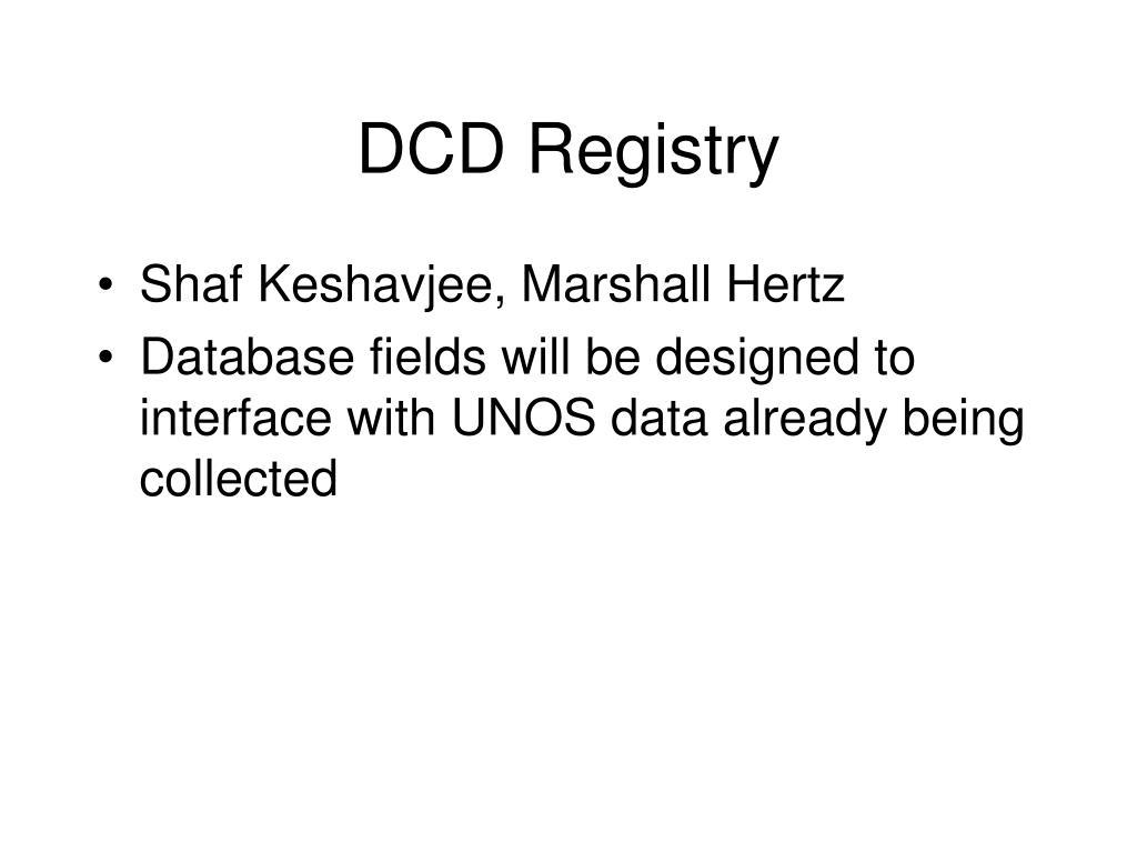 DCD Registry